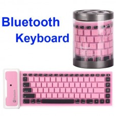 Mini Flexible Folding Bluetooth Silicone Keyboard for iPad, iPad 2, the New iPad Pink