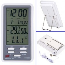 DC-802 Rectangle Indoor and Outdoor Digital Thermometer Humidity Meter Hygrometer with Clock, Calendar
