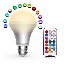 16 Colors Change 10W E27 Standard Screw Base Dimmable Lamp RGB LED Magic Light Bulb 24Key IR Remote - Warm White