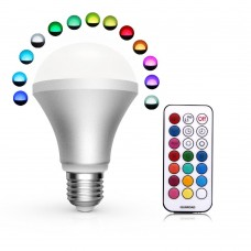 16 Colors Change 10W E27 Standard Screw Base Dimmable Lamp RGB LED Magic Light Bulb 24Key IR Remote - Cool White