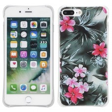 Soft TPU Back Cover Case for iPhone 7 Plus - Red Flower