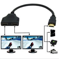 HDMI Male to Dual HDMI Twin Female 2 in 1 out Y Splitter Short Adapter Cable - Balck
