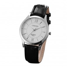 CHNEXI 065A OP001 Roman Numerals Genuine Leather Quartz Del Shockproof Men Round Wrist Watch Bracelet for The Sex Men Male - Sliver and White-Women