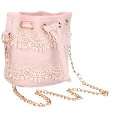 Guapabien Chic Pure Color Diagonal Chain Strap Drawstring Design Shoulder Bag for Ladies