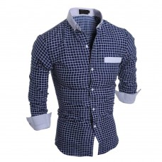 Casual Slim Fit Lattice Turn Down Collar Long Sleeve for Male