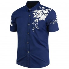 Flowers Printed Short Sleeves Shirt