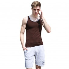 Casual Round Collar Color Block Letter Print Cotton Blend Gym Tank for Men