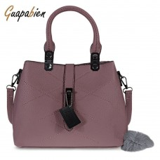 Guapabien Elegant Pom Pom Embellished PU Convertible Tote Bag for Women