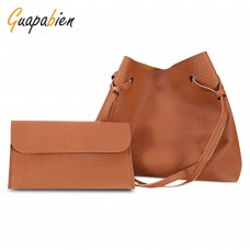 Guapabien 2pcs Women Shoulder Tote Bag Handbag Clutch