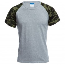 Round Collar Short Sleeve Camouflage Cotton Blend Casual T-Shirt for Men