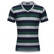 Casual Male V Neck Stripe Short Sleeve T-shirt