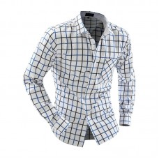 Casual Turn Down Collar Long Sleeve Plaid Print Button and Pocket Design Shirt for Men