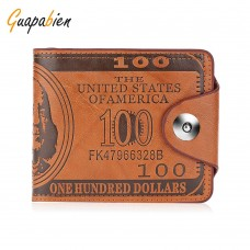Guapabien PU Leather Magnet Snap Fastener Short Wallet for Men