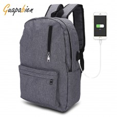 Guapabien USB Charge Port Canvas Backpack Laptop Travel Bag