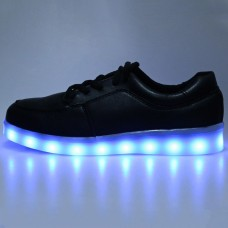 Casual Lace Up LED Male USB Charged Luminous Sneakers