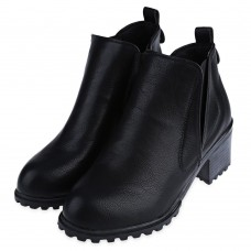 Retro Pure Color Round Toe Elastic Band Ladies Short Tube Thick Heel Boots