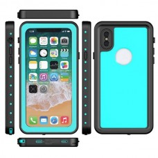 Redpepper Dot Series Waterproof Dustproof Snowproof Support Wireless Charging 2 in 1 Hard PC + Soft TPU Back Cover Protective Case for iPhone X - Blue
