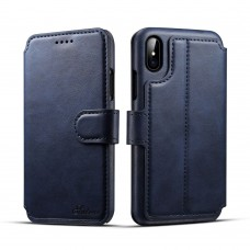 Suteni Calf Pattern Side Flip PU Leather + Hard PC Magnetic Buckle with Card Slots and Stand Wallet Protective Case for iPhone X - Navy Blue