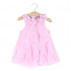 Cute Flower Turn Down Collar Sleeveless Mesh Pure Color Baby Girls Dress