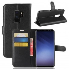 Lichee Pattern PU Leather + Soft TPU Card Holder with Adjustable Stand Support Wallet and Magnetic Buckle Case for Samsung Galaxy S9 Plus - Black