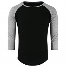 Crew Neck Panel Half Raglan Sleeve T-Shirt