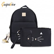 Guapabien 3pcs Kitten Printed Bag Satchel Wristlet Card Holder