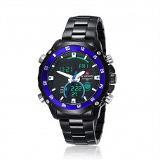 NAVIFORCE NF9030 Military LED Stainless Steel Week Light Alarm Date Calendar Men Wrist Quartz Watches - Black and Blue