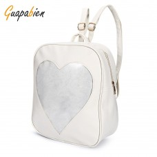 Guapabien PU Leather Transparent Heart Backpack for Girls