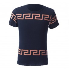 Refreshing Round Neck Simple Geometric Print Solid Color Slimming Short Sleeves Men's T-Shirt