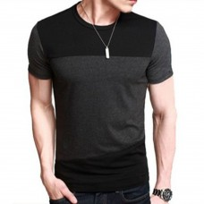 Casual Oversize Patchwork Men Short Sleeve Scoop Neck T-shirt