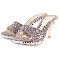 Open Toe Rhinestone Ladies Thick High Heel Slippers