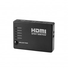 5-Port HDMI Switch Supports 3D Full 1080P Ultra HD HDMI Splitter with IR Wireless Remote - Black