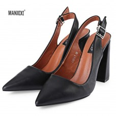 MANXIXI Casual Pointed Toe Buckle Design Ladies Thick High Heel Shoes