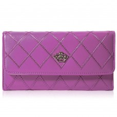 Guapabien Crown Embellishment Plaid Design Wallet for Ladies