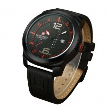NAVIFORCE NF9063 Men Quartz Watch Hour Date Clock Leather Strap Military Army Wrist Watch - Black + Red