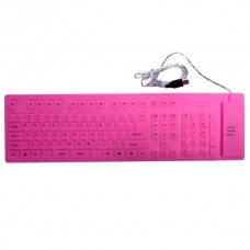 109 Keys USB Flexible Silicone Keyboard(Pink)